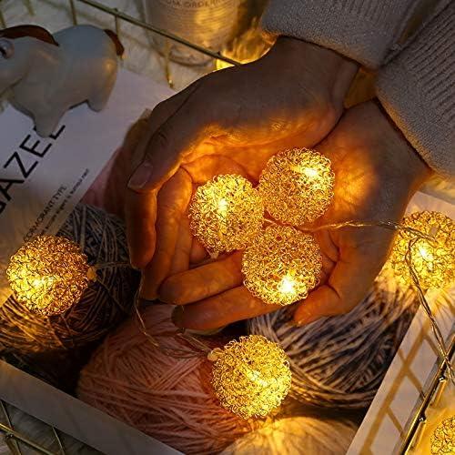 Led Lichterkette, 1,5/3/6 / 10M, Festliche Deko Lichterkette 10 Meter 100 Kugeln Gold