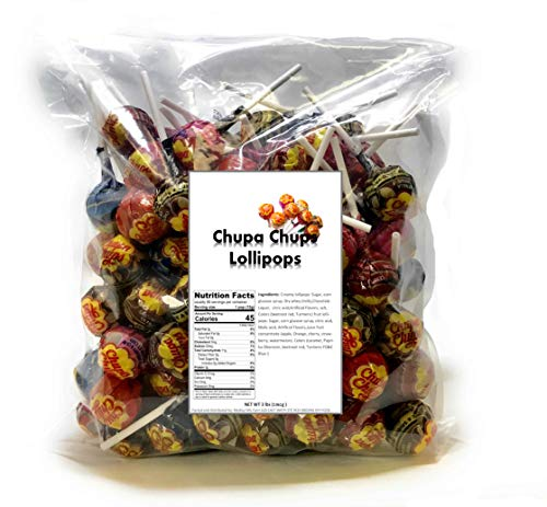 Chupa Chups Lollipops Original Assorted Flavors, 3 LB Bag bulk candy individually wrapped