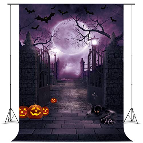 FIVEWARE 5x7FT Halloween Photo Backdrop Cloth Gothic Photography Background Halloween Party Decorations Studio Photo Props BD1839]()