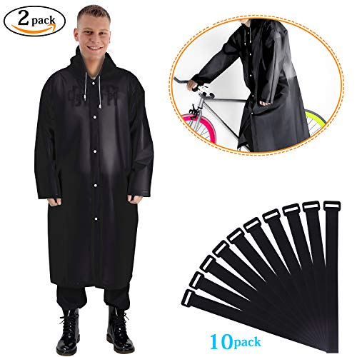 Grebarley Raincoat,Rain Poncho,Rain Ponchos,Rain Wear, Waterproof Jacket,2 Pack Translucent Raincoat Portable Lightweight Reusable with Hoods and Sleeves for Adult Universal Size(160-190cm) Thick EVA Black/2pcs