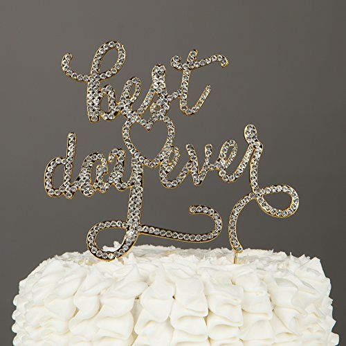Best Day Ever Wedding Cake Topper Gold Rhinestone Decoration Best Day Ever Gold
