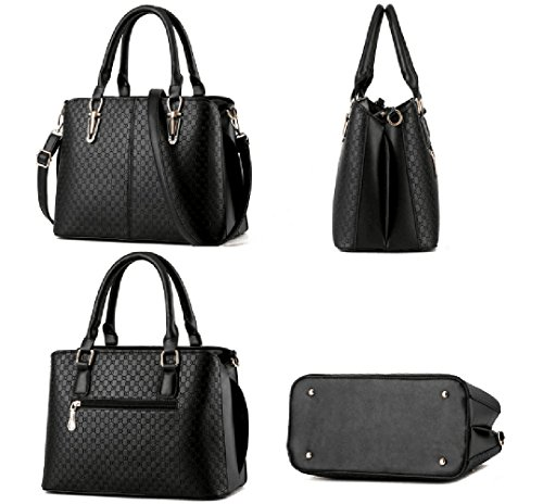 Ladies Leather Handbag Shoulder Tibes Black Strap with PU D ZqBxUAd