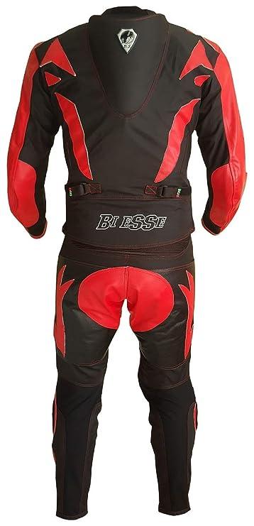 r/églable s/écable en 2 pi/èces Veste et Pantalon Noir//Rouge, S compl/ète de Protections CE Noir//Rouge BIESSE Combinaison de Moto pour Adulte en Cuir et Tissu Tailles XS 4 XL