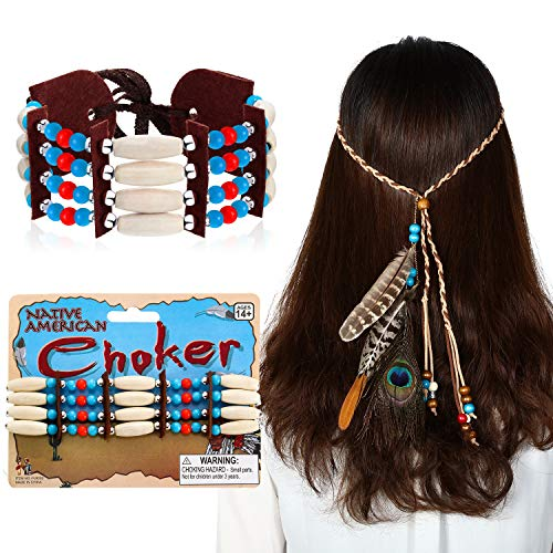 2 Pieces Indian Costume Set, Native American Choker and Indian Feather Headband for Women Men's Hippie Bohemian Costume Accessory -