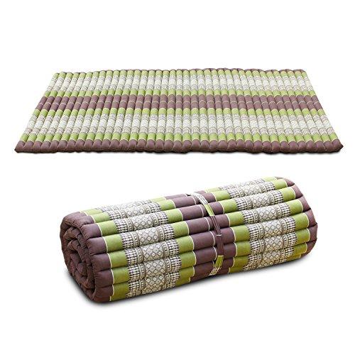 MASSSAGEMATTE Liegematte Rollmatte 200x100 cm Yogamatte Rollmatratze THAIMATTE Matte Liege Kapokmatte Baumwolle Kapok , Farbe:Grün-Braun