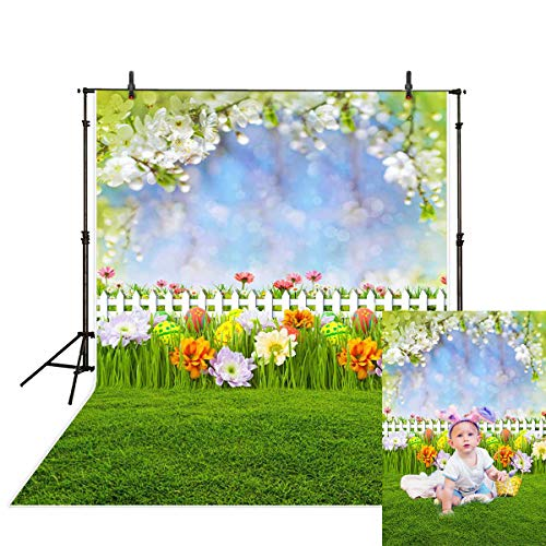 Allenjoy 5x7ft Spring Easter Backdrop Fairy Tale Woodland Green Grass Leaves Colorful Flowers White Fence Eggs Bokeh Kids Children Photography Background Decoration Photo Studio Props]()