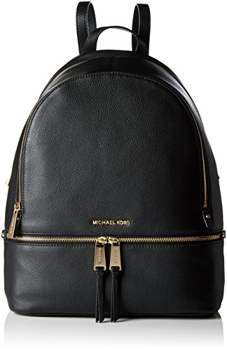 Michael Kors Rhea Large Leather Backpack - Borse a zainetto Donna, Black, 15x35x30 cm (W x H L)