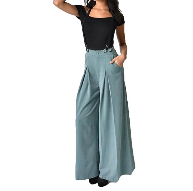 4038536c4199 Topgrowth Strap Pantaloni delle Donna a Vita Alta Cinghia Jumpsuit Gamba  Larga Svasato Palazzo Pantaloni Tuta da Lavoro: Amazon.it: Abbigliamento