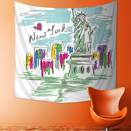 Cosmopolitan Wall Maps (Printsonne Polyester Tapestry Wall Hanging Cosmopolitan New York City Landmarks Statue of Liberty Sketchy Hand Drawn Image Multicolor Wall Decor for Bedroom Living Room Dorm)