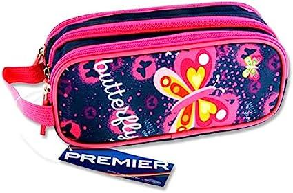 Premier Stationery C5616324 - Estuche ovalado con 3 bolsillos con cremallera, diseño de mariposas: Amazon.es: Oficina y papelería