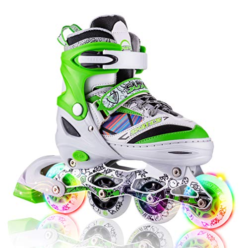 Kuxuan Inline Skates Adjustable for Kids,Boys Skates with All Wheels Light up,Fun Illuminating for Girls and Youth