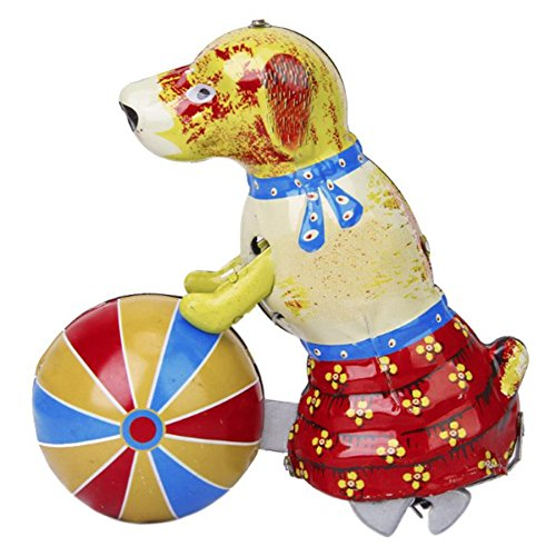 Off the Wall Toys Vintage Style Tin Wind up Toy Dog Play Ball with Key
