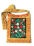 India Handmade Embroidery - Hobo / Hippie Shoulder Handbag / Bag - Mustard with Artisan Flower
