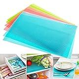 Can Be Cut Refrigerator Pad Antibacterial Antifouling Mildew Moisture Absorption Pad Mat Table,set of 4,Blue
