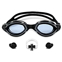 Turata Swim Goggles No Leaking Anti Fog UV Protection with Goggles Case, Ear Plugs and Nose Bridge for Adult Men Women