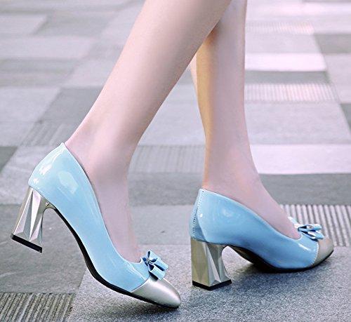 Aisun Donna Elegante E Comoda In Punta Squadrata Con Punta Squadrata Antiscivolo Scarpe Con Tacco Medio E Chunky Con Fiocco Blu