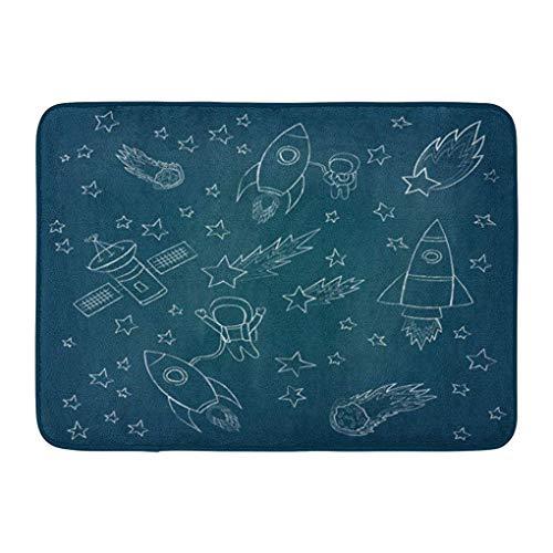 (YGUII Doormats Bath Rugs Outdoor/Indoor Door Mat Blue Scribble Stars and Meteorites Rockets Astronaut Satellites Drawing Sketch of Space Colorful Bathroom Decor Rug Bath Mat 16X23.6in (40x60cm))