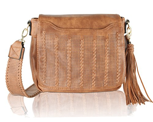 Boho-Chic Vacation & Fall Looks - Standard & Plus Size Styless - Steve Madden Women's BBowman Perf Crossbody Cognac Crossbody Bag
