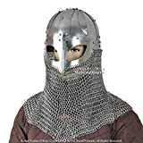 QUALITYMUSICSHOP Battle Ready Viking Spectacle Helmet with Chainmail Aventail 16G Steel