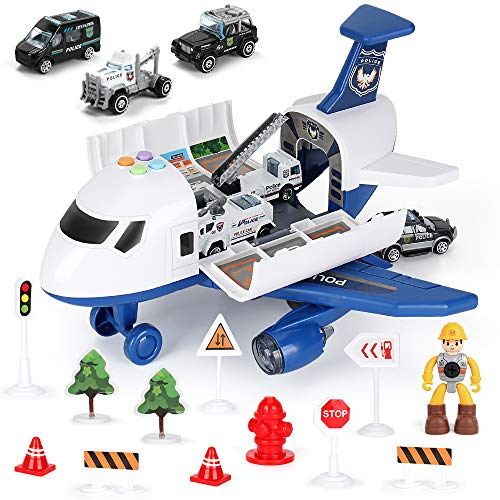 19 Pack Transport Police Airplane Toy Play Vehicles Set for Kids Gifts, with 6 Police Die-cast Toy Cars, 11 Road Signs…