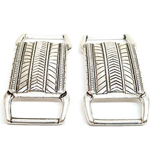 (Set of 2 Engraved Silver Rectangle Concho Bar 1