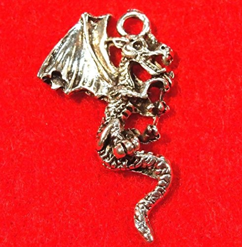 10Pcs. Tibetan Silver Dragon Detailed Charms Pendant Earring Drops Finding AN003 Crafting Key Chain Bracelet Necklace Jewelry Accessories Pendants ()