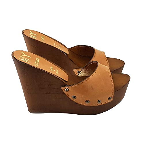 f6918c55c226a Women's Wedge in Leather Heel 13 - MYZ31901-CUOIO: Amazon.co.uk ...