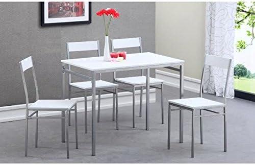 Chicago Ensemble Repas 1 Table 4 Chaises Blanc Amazon Fr