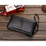 Fashion Trend Casual Genuine Leather Long paragraph Clutch bag Wallet hand bag For Men Black QB43A