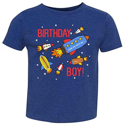 - Tiny Expressions Toddler Birthday Boy Space Rocket Shirt (Royal Blue, 5/6)