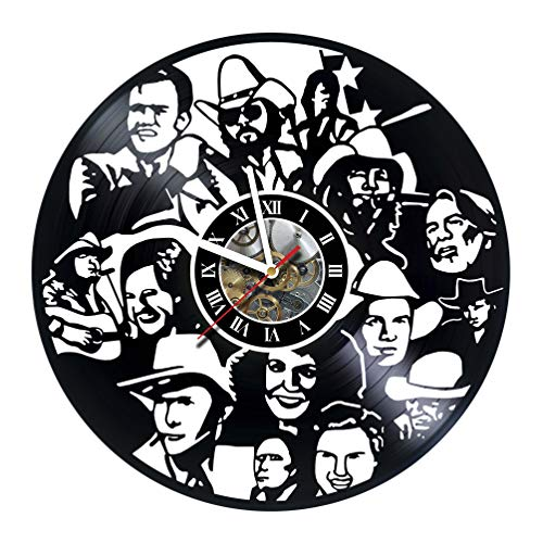Vikarthouse Country - Western - Singers - Vinyl Record Wall Clock - Get Unique Living Room Wall Art décor - Gift Ideas for Father, Mother, Friend – Unique Music Art Design - Customize Your Clock ! ()