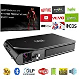 Mini Pocket DLP 3D HD Bluetooth Projector, Smart Portable LED Android Wireless WiFi Projector Built-in Battery HDMI SD USB Audio Speakers Multimedia for Home Theater Cinema,Party,PPT,Games