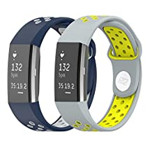 2 Pieces HJZ Replacement Bands for Fitbit Charge 2 Size L or XL fit2 Smart Watch Strap Silicone Wristband (Navy & Gray)