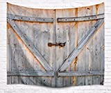 A.Monamour Retro Rustic Wood Planks Country Barn Door Art Print Fabric Tapestry Wall Hanging Decors for Bedroom Accessories 203x153cm/80''x60''