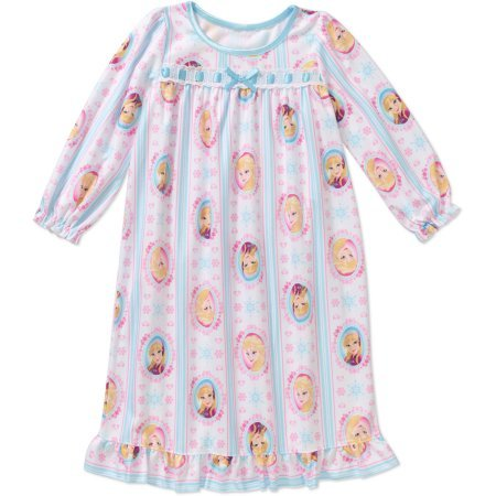 Disney Frozen Toddler Girls Long Sleeve Blue & White Nightgown Size 4 T (Disney Frozen Gowns)