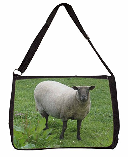 Sheep Intrigued by Camera Large 16 Black School Laptop Shoulder Bag QTbE4