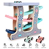 Wooden Race Track for Toddlers Toy, 4 Plastic Lanes Ramp Racer Car Set with Big Parking Garage Early Learning Game Toy for Boys Girls Age 3 Years Up