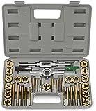 Neiko® 00911A SAE Tap and Hexagon Die Set, Titanium Coated | 40-Piece Set