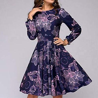 Todaies Women Printing Party Dress, Elegent A-line Vintage Vestidos Dress: Clothing