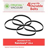 4 CB-6 Geared Belts for Kenmore Powerhead & Progressive Vacuums; Compare to Kenmore Part Nos. 20-5285, 742024; Designed & Engineered by Think Crucial