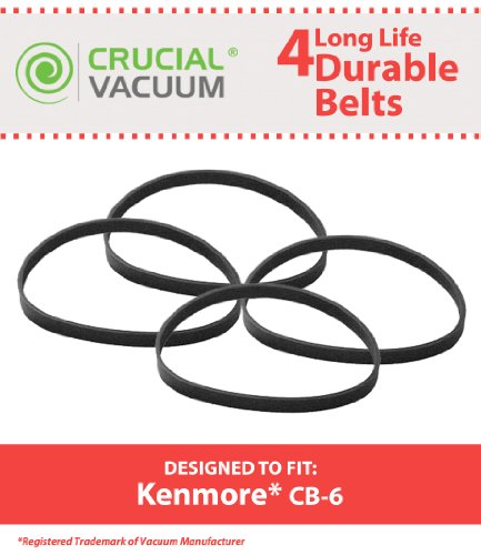 4 Kenmore CB6 SERPENTINE Belts, Fits Kenmore Powerhead Canister Vacuums, Compare to Part # 20-5201, CB-6, 53012, 46-3305-01, Panasonic CB6, 5PH288, MC-V330B, Designed & Engineered by Crucial Vacuum (Kenmore Model 116 Belt compare prices)