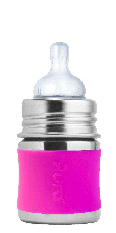 Pura Kiki - Botella de bebé con funda de silicona de acero ...