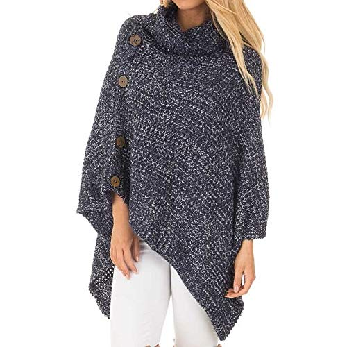 Women's Poncho Sweater Pullover Vintage Cowl Neck Asymmetric Cape Lightweight Knit Jumper with ButtonsDressy Sweaters Tassel Hem Blue Grey XXL (Sweater Neck Cowl Belted)