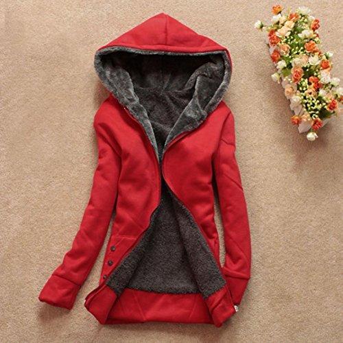 de Sobretodo de cálido capucha Rojo para Internert Parka Ropa con invierno Chaqueta mujer larga abrigo A5q0wvf