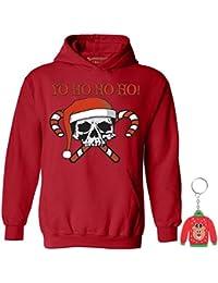 Awkwardstyles Yo Ho Ho Ho Hoodie Xmas Skull Sweatshirt + Ugly Sweater Key Chain