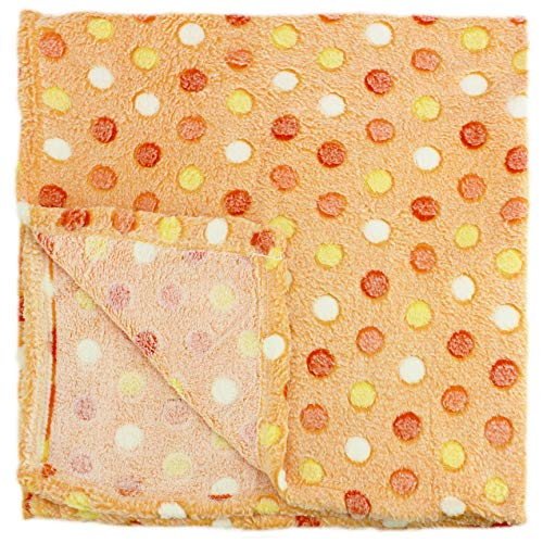 30x30 Inch Plush Fleece Baby Swaddle Blanket - Assorted Unisex Colors Polka Dot Blankets for Receiving Newborns by bogo Brands (Orange)