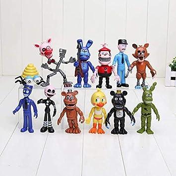 Juego de 12 Piezas de 5 – 11,5 cm Five Nights at FreddyS Figure FNAF Chica Bonnie Foxy Freddy Fazbear Muñeca PVC Figuras de acción Juguete: Amazon.es: Juguetes y juegos