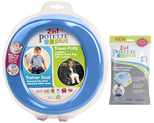 Kalencom 2 in 1 Potette Plus Portable Potty-Toilet Training Seat with 30 Potty Liners Set (Blue) (Potette Plus 30 Pack Value Pack Liners)