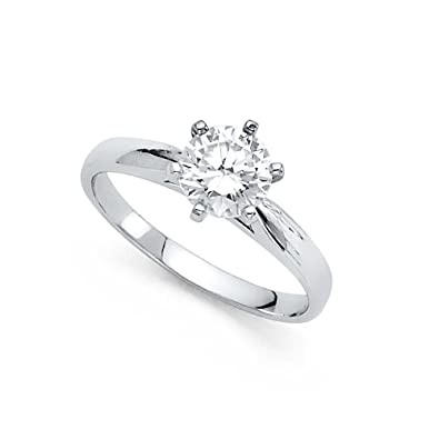 677195d938b49 GemApex 14k Yellow OR White Gold Round CZ Single Stone Engagement ...