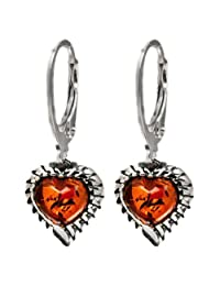 Sterling Silver Amber Heart Leverback Earrings